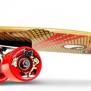 "SmoothStar Surfing Skateboard - 30"" Barracuda Natural Wood grain"